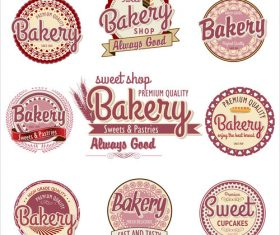 Pink bakery labels vector material