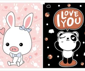 Pink pig black panda vector