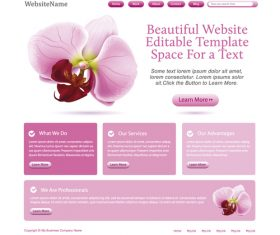 Pink styles flower vector website template