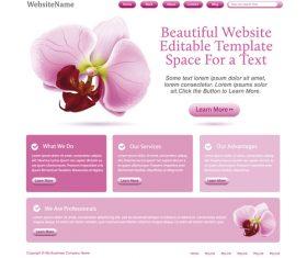 Pink styles flower vector website template