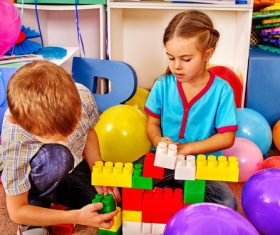 Playing with the building blocks Stock Photo 04
