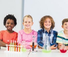 Primary school students in chemistry lab class Stock Photo 03
