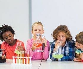 Primary school students in chemistry lab class Stock Photo 04