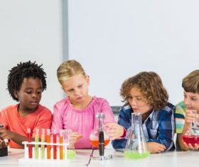 Primary school students in chemistry lab class Stock Photo 05