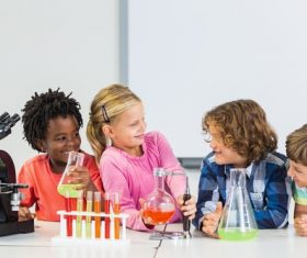 Primary school students in chemistry lab class Stock Photo 06