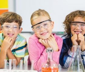 Primary school students in chemistry lab class Stock Photo 07