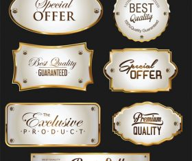 Promo sale labels collection gold and silver design vector