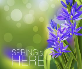 Purple flowers with spring background vector