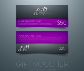 Purple gift vouchers template vector 01