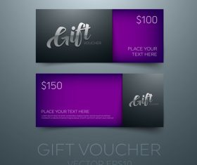 Purple gift vouchers template vector 02
