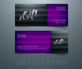Purple gift vouchers template vector 04