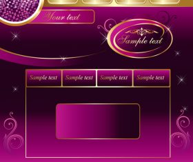 Purple with golden styles music website vector template