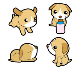 Q version of cute puppy vector