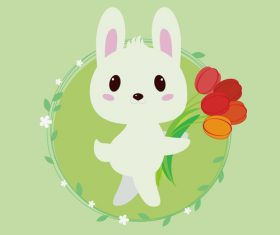 Rabbit holding a tulip vector