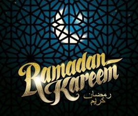 Ramadan Kareem Greenting Background with Girds Pattern Vector