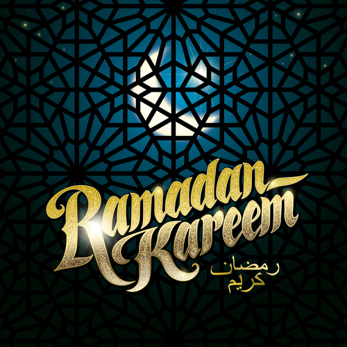 Ramadan Kareem Greenting Background with Girds Pattern Vector