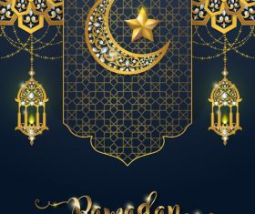 Ramadan kareem background with golden decor vector 02