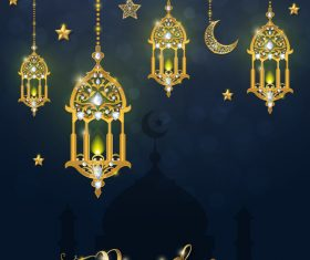 Ramadan kareem background with golden decor vector 03