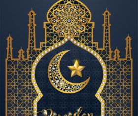 Ramadan kareem background with golden decor vector 04