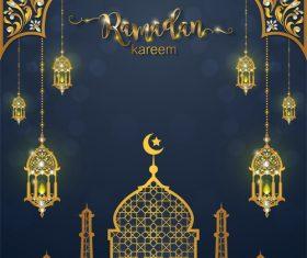 Ramadan kareem background with golden decor vector 05