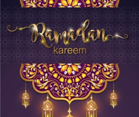 Ramadan kareem purple background vector 01
