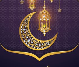 Ramadan kareem purple background vector 02