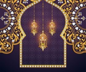 Ramadan kareem purple background vector 03