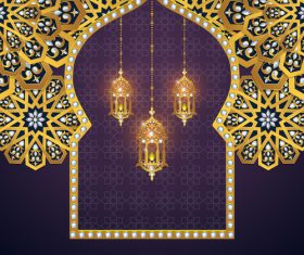 Ramadan kareem purple background vector 04