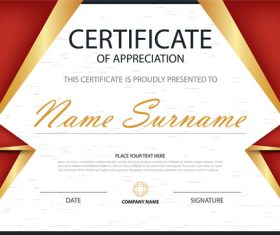 Red certificate template design vectors