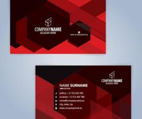 Red company business card vector template