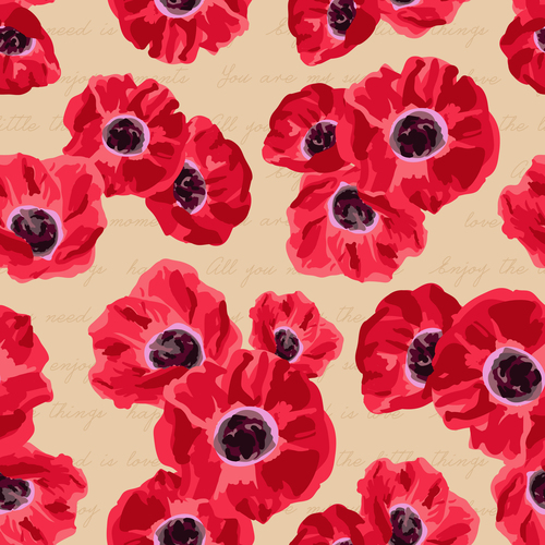 Red flower seamless pattern vectors