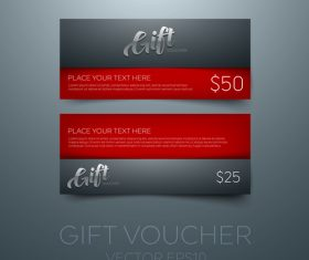 Red gift vouchers template vector 01