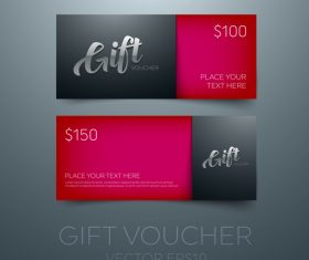 Red gift vouchers template vector 02