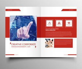 Red styles business brochure template vector 01