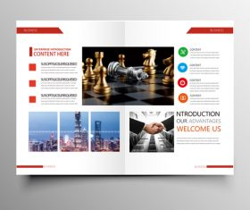 Red styles business brochure template vector 02