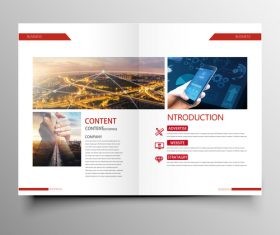 Red styles business brochure template vector 03