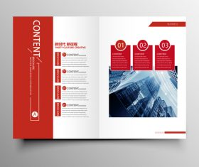Red styles business brochure template vector 04