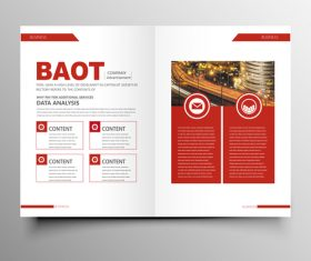 Red styles business brochure template vector 05