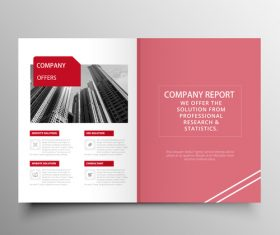 Red styles business brochure template vector 06