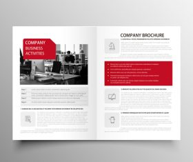 Red styles business brochure template vector 07