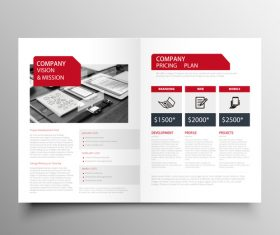 Red styles business brochure template vector 08