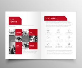 Red styles business brochure template vector 09