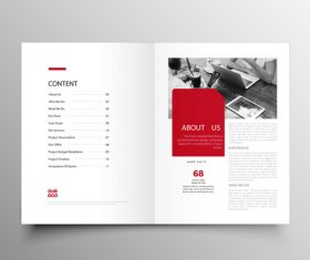 Red styles business brochure template vector 10