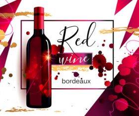 Red wine poster template vector material 01