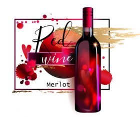 Red wine poster template vector material 02