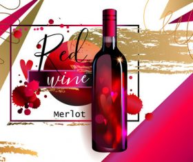 Red wine poster template vector material 03