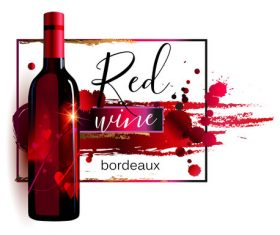 Red wine poster template vector material 04
