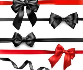 Red with black bows illustration vector 01