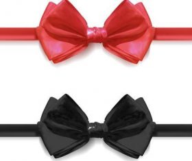 Red with black bows illustration vector 02