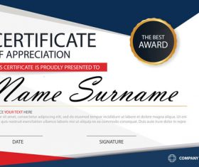Red with blue certificate template design vectors 01